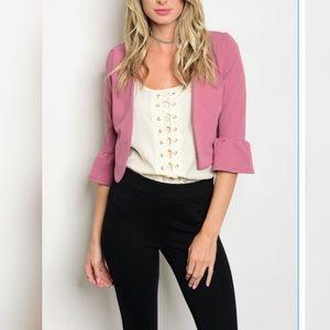 Jackets & Blazers - Pink ruffled sleeve blazer
